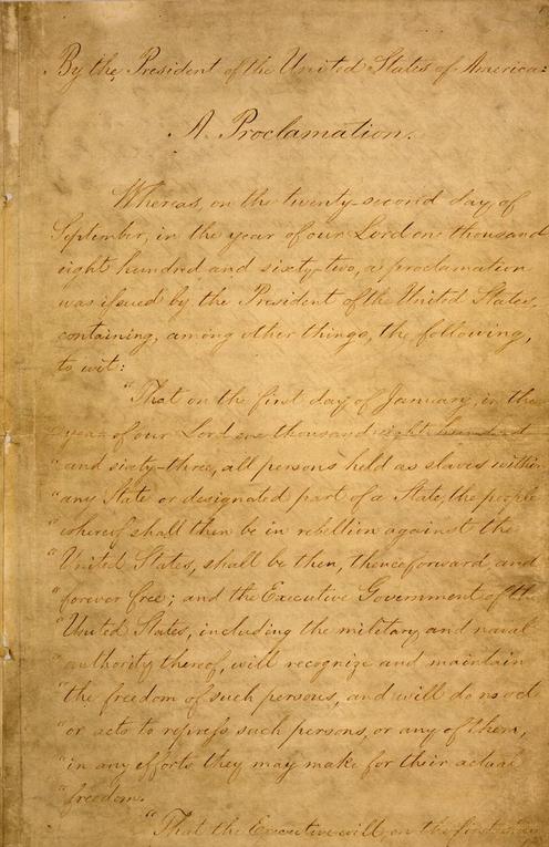 صفحة 1 من وثيقة إعلان تحرير العبيد بأمريكا