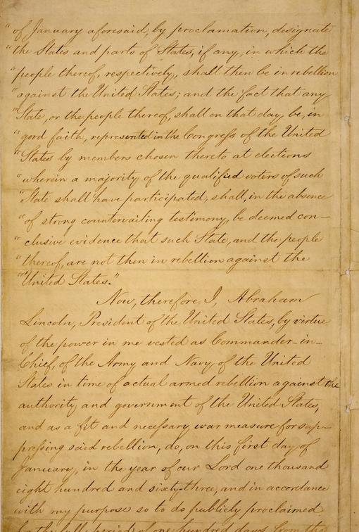 صفحة 2 من وثيقة إعلان تحرير العبيد بأمريكا