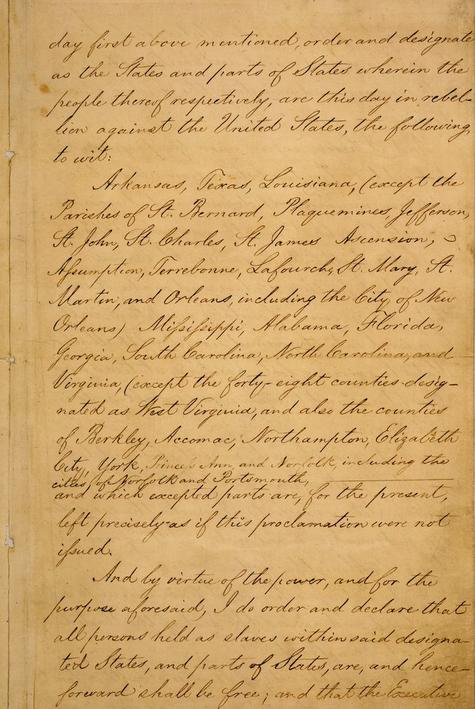 صفحة 3 من وثيقة إعلان تحرير العبيد بأمريكا