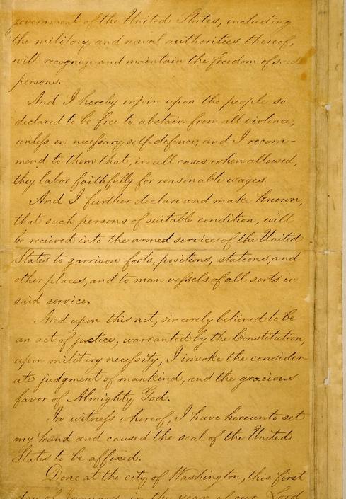 صفحة 4 من وثيقة إعلان تحرير العبيد بأمريكا