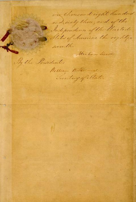 صفحة 5 من وثيقة إعلان تحرير العبيد بأمريكا