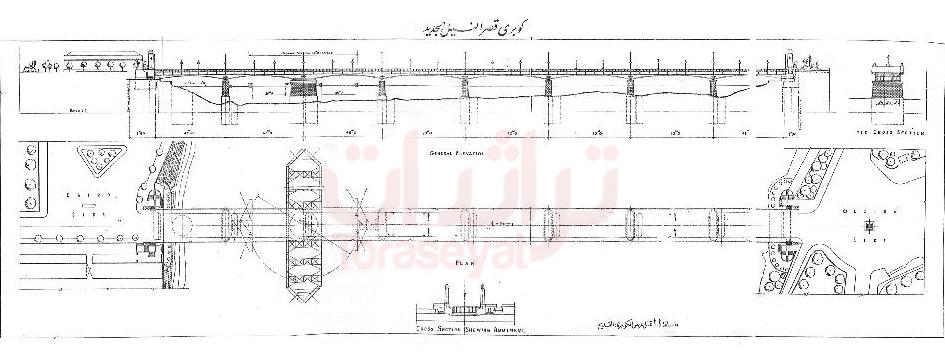 الرسم الهندسي لكوبري قصر النيل