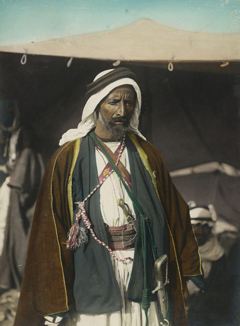 صورة ملونة باليد لعودة أبو تايه في شمال الحجاز