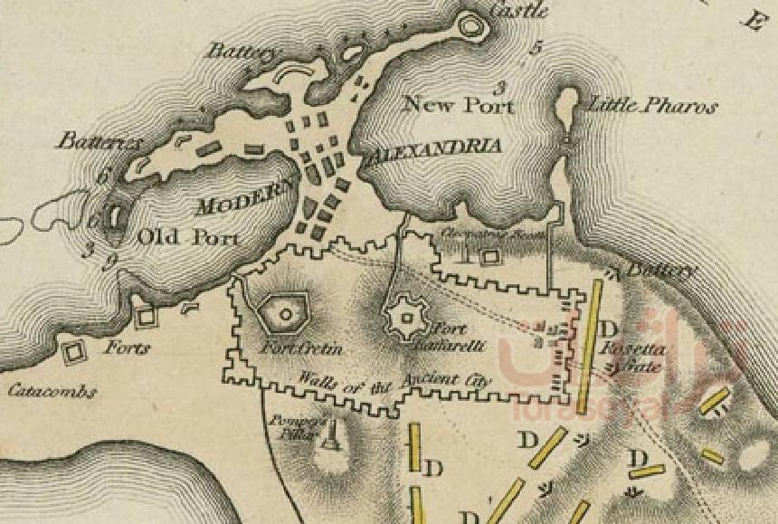 خريطة أبواب وأسوار الإسكندرية سنة 1801 م