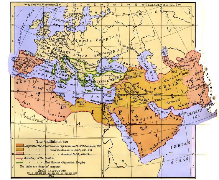 خريطة الدولة الإسلامية في عصر الخلافة