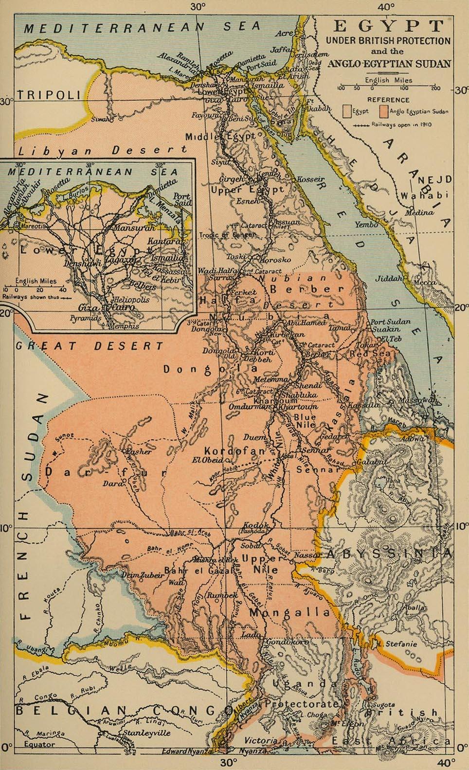 خريطة للسودان المصري الأنجليزي