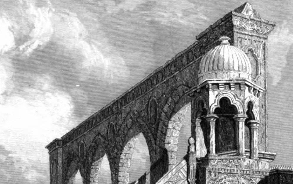 قبة الميزان في الأقصى المعروفة أيضا بمنبر برهان في عام 1837