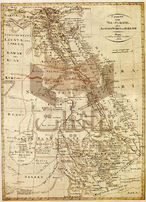 خريطة لنهر النيل في مصر والنوبة