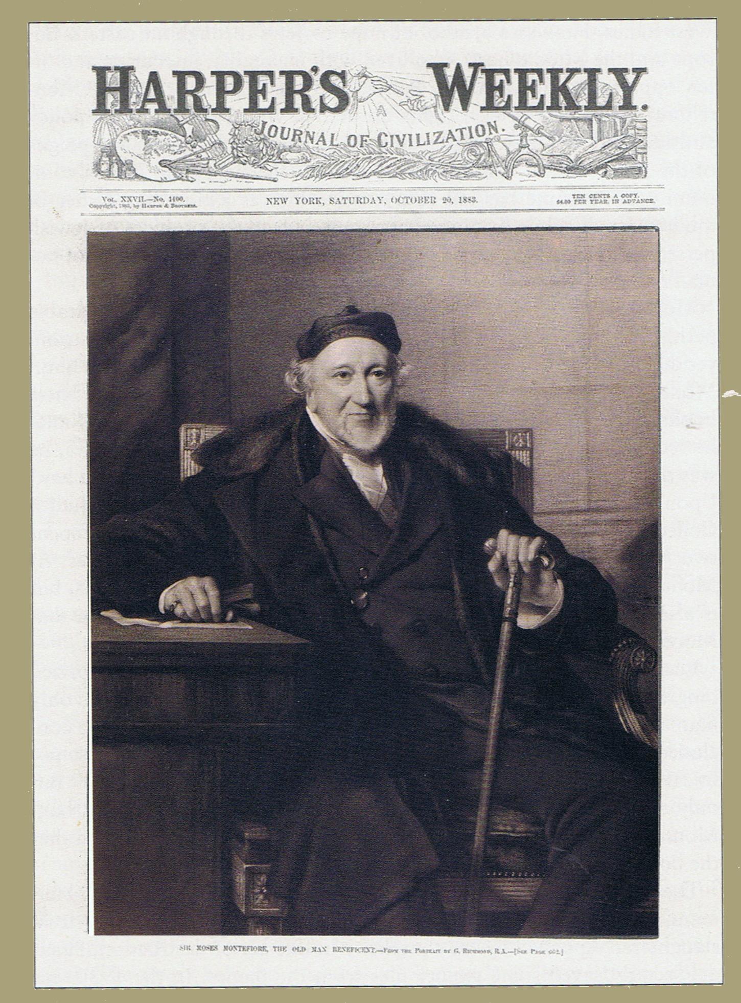 صورة موسى مونتيفيوري في عدد مجلة هاربر الأمريكية سنة 1883 م
