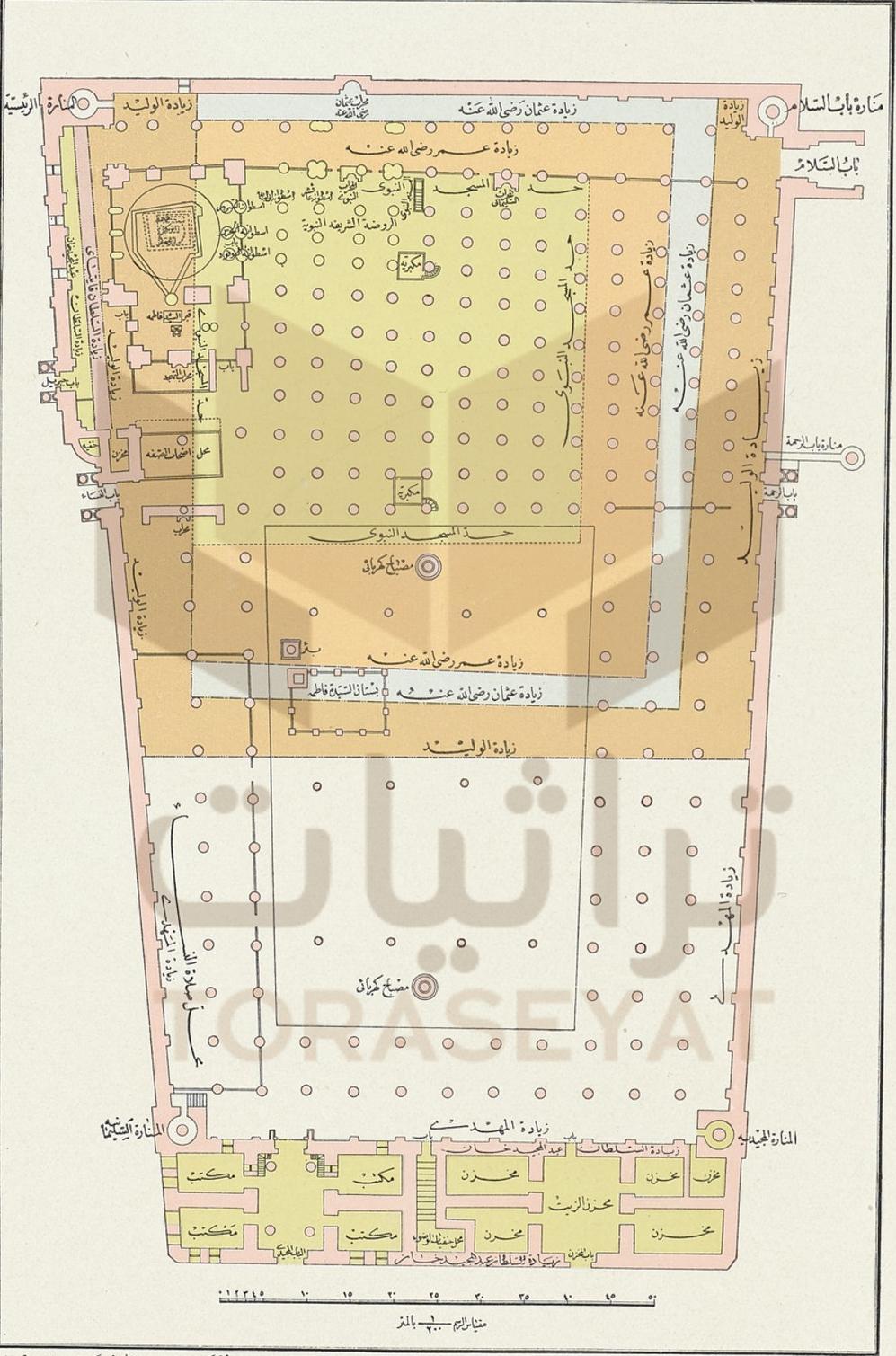 خريطة المسجد النبوي سنة 1901 م