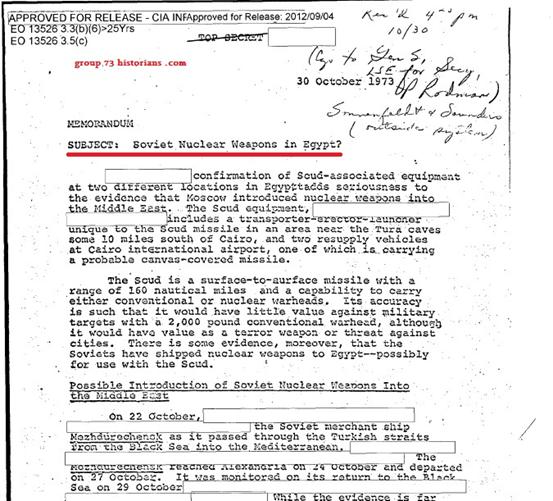 وثيقة أمريكية بشأن الأسلحة النووية في حرب أكتوبر