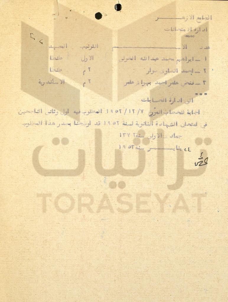 ص 2 - أوائل الثانوية الأزهرية قبل إلغاء الملكية بأشهر قليلة