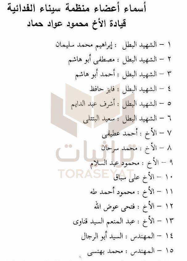 من وثائق منظمة سيناء العربية