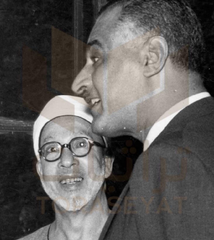 الرئيس جمال عبدالناصر و الشيخ عبدالرحمن تاج شيخ الأزهر