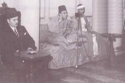 الملك فاروق والشيخ أبو العنين شعيشع والشيخ مصطفى اسماعيل