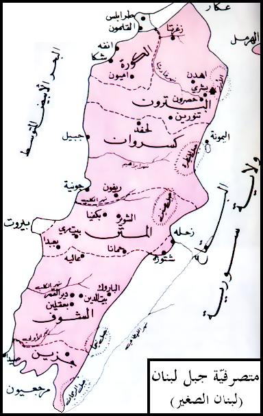 خريطة المتصرفية اللبنانية