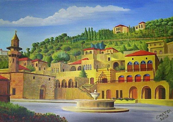 رسم لبلدة دير القمر عاصمة الإمارة المعنية