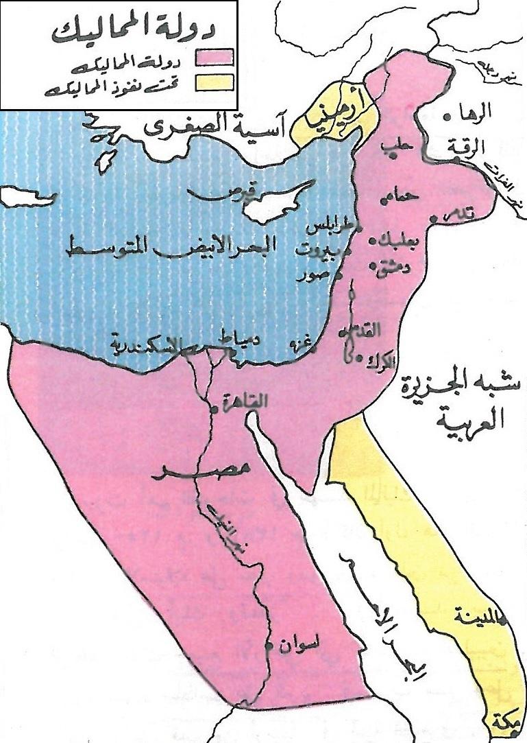خريطة مصر في عصر الخلافة العباسية من القاهرة على يد المماليك