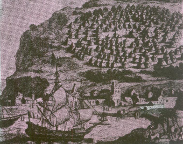 معسكر لجيش فخر الدين على شاطئ بيروت في الفترة عندما كانت لا تزال بلدة