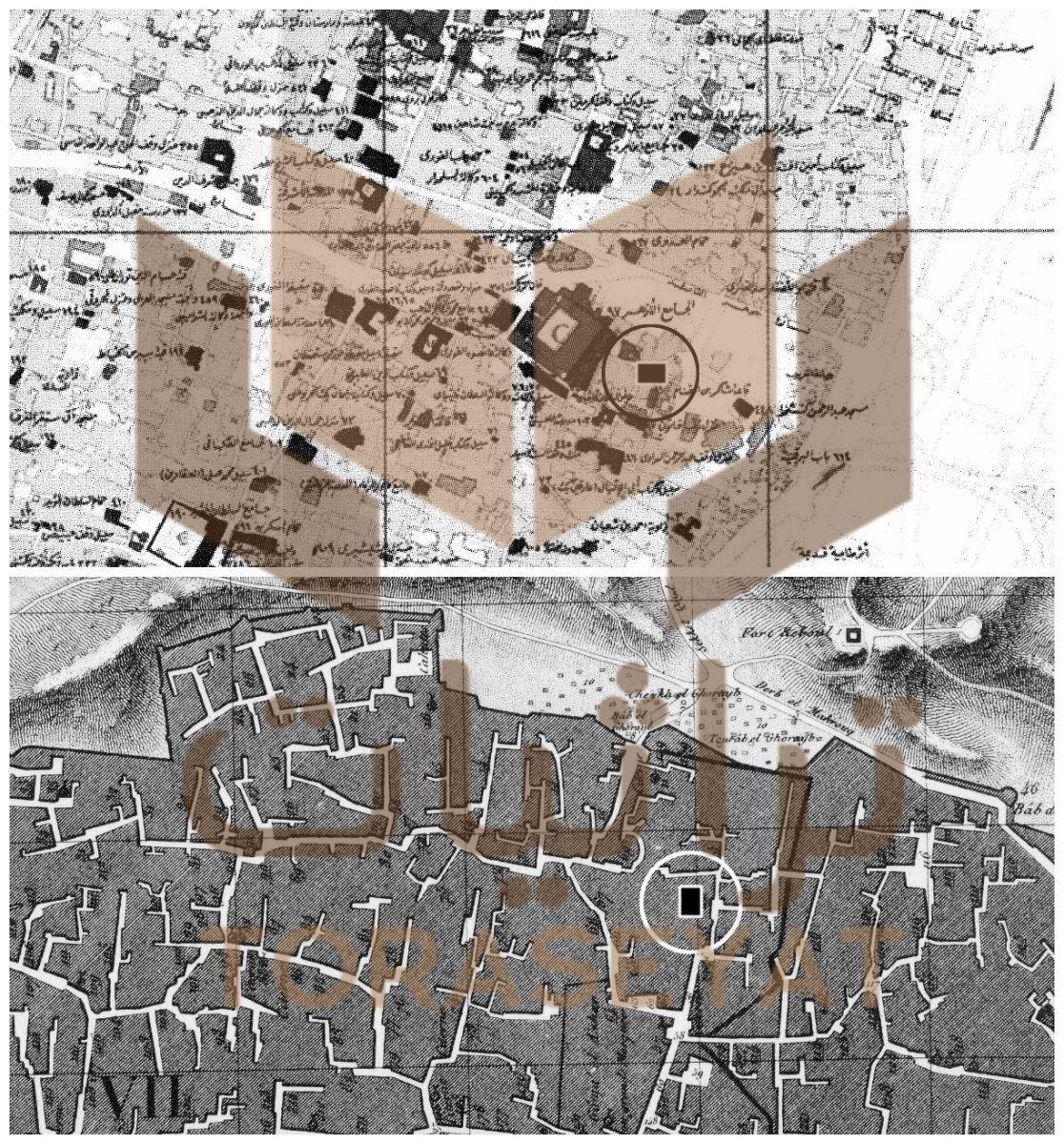 خريطة منزل الأمير قيت خلف الأزهر - الأعلى خريطة قديمة والأسفل من وصف مصر