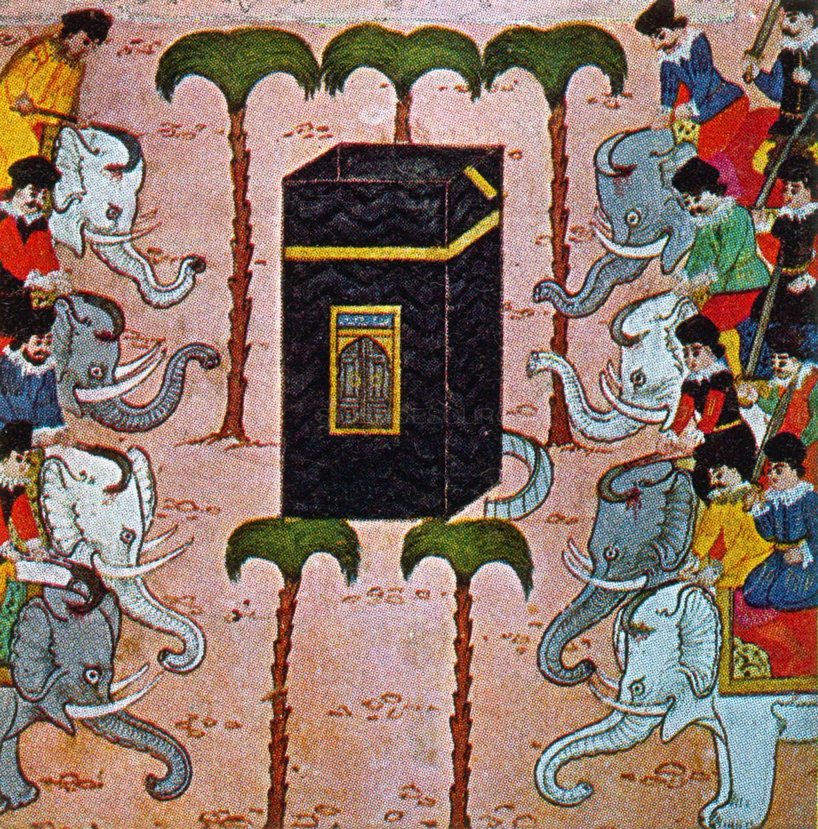 رسمة تعبيرية لجيش أبرهة في مكة