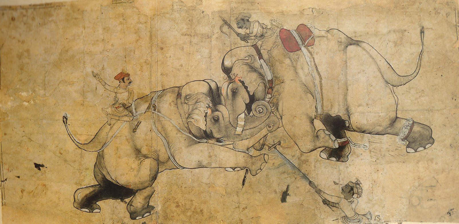 رسمة تعبيرية من القرن الـ 17 حول حرب الأفيال