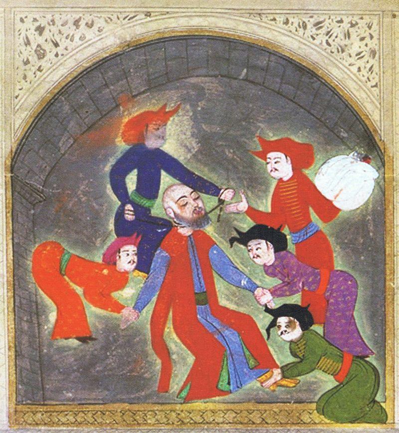 رسم خنق الأمير مصطفى بن سليمان القانوني
