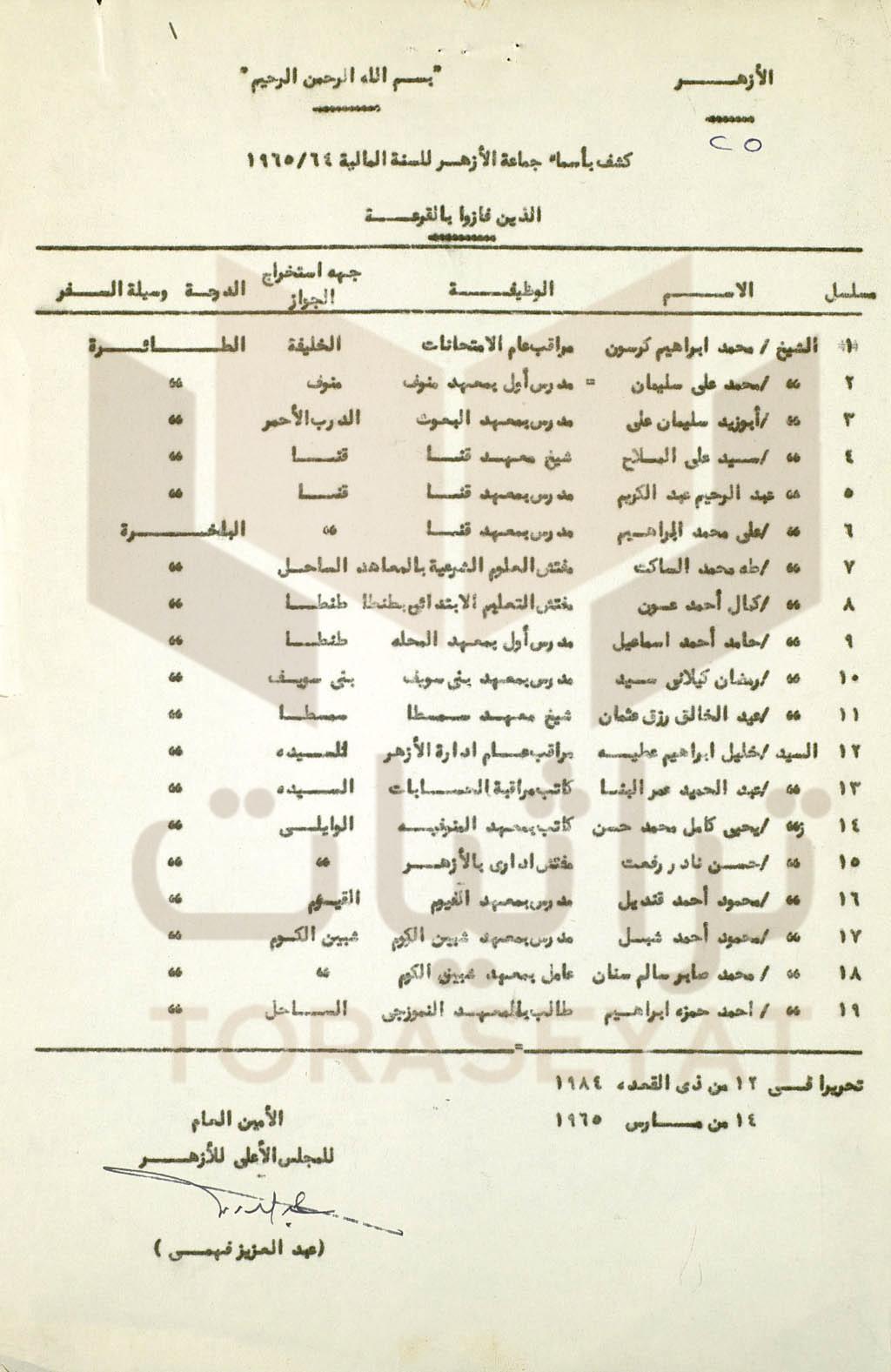 وثيقة فوز 19 أزهريًا بحج القرعة للسنة المالية 1964 - 1965 م
